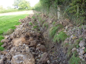 The trench is now ready for the posts